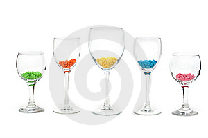 Glasses With Colour Sweetmeat Stock Photos - Image: 9358333
