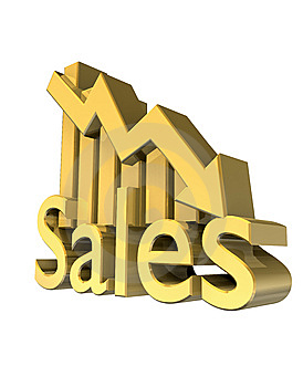 Sales Statistics Graphic In Gold Royalty Free Stock Photo - Image: 9359485