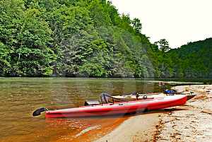 Kayaks On The River Beach Area Stock Images - Image: 9361664
