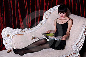 Asian Girl Reading Stock Image - Image: 9363491