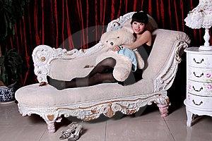 Asian Girl Watching TV Stock Image - Image: 9364131