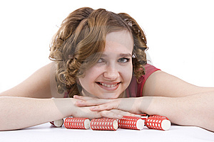 Woman With Curlers In Her Hair. Stock Image - Image: 9365551