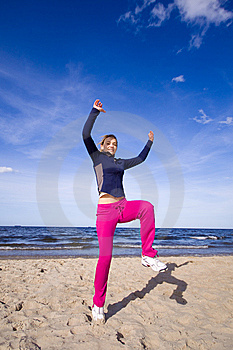 Active Woman On The Beach Stock Photos - Image: 9368663