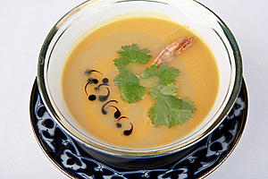 Soup Is A Pea With A Shrimp Stock Image - Image: 9368861