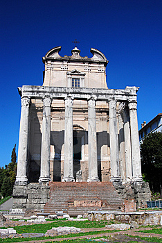Ancient Temple In Roman Forum, Rome Royalty Free Stock Images - Image: 9369849