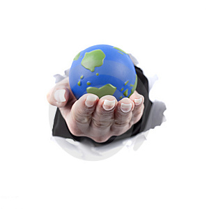 Woman Hand Holding Planet Earth Globe Stock Image - Image: 9370881