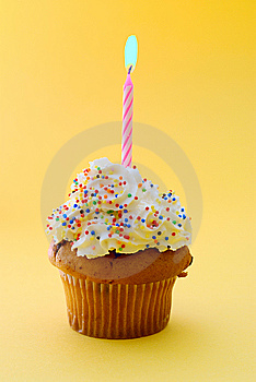 Muffin And Candle Royalty Free Stock Photography - Image: 9373887