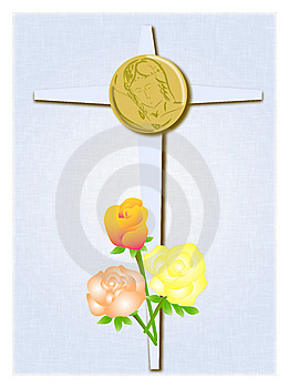 Cross With Roses And Christ Royalty Free Stock Image - Image: 9374046