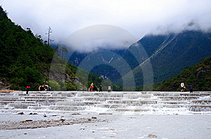 Yulong Snow Mountain-white River Or Tourists Stock Image - Image: 9375541