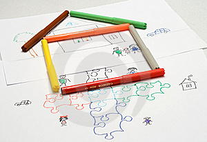Kids Illustration. Puzzle. Home Stock Photos - Image: 9376423
