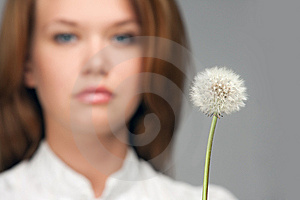 Woman Portrait With Dandelion Stock Photo - Image: 9377680