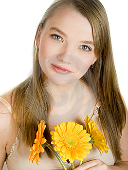 Girl With Flowers Royalty Free Stock Photography - Image: 9379107
