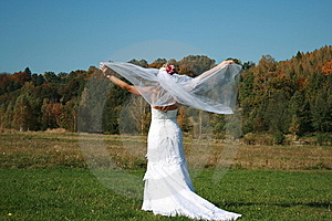 Bride With Bridal Veil Flying Royalty Free Stock Image - Image: 9380606