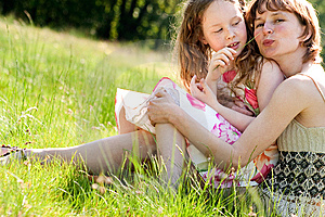 Tickling My Mother With A Grass Blade Royalty Free Stock Photos - Image: 9381368