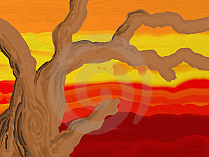 Painted Style Branches At Sunset Stock Images - Image: 9382654