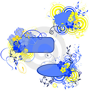 Blue And Yellow Banner With Flowers Stock Images - Image: 9385744
