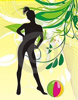 Girl With Ball. Spring Composition Royalty Free Stock Images - Image: 9389139