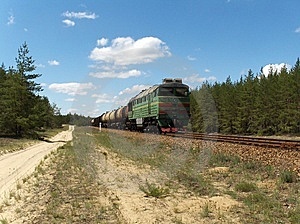 Cargo Train In The Forest Royalty Free Stock Photo - Image: 9389635