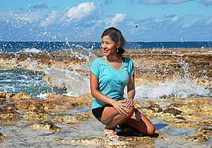 The Girl With Water Splashes Royalty Free Stock Image - Image: 9392876