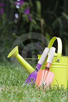 Water Can And Tools Royalty Free Stock Images - Image: 9399439