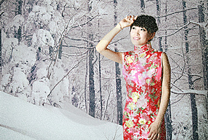 Chinese Girl In The Snow Scenes Royalty Free Stock Images - Image: 9399579