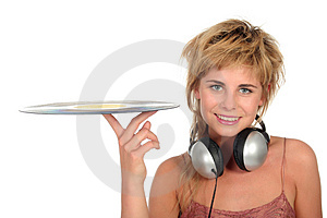 Girl Holding A Vinyl Record Stock Photos - Image: 944313