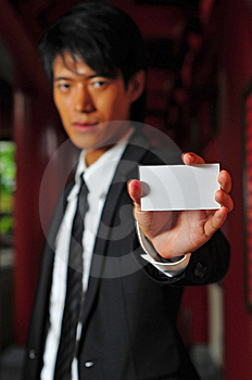 Asian Man Holding Card Stock Photos - Image: 9409313