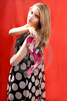 Blonde With Shoes Looking Back Stock Image - Image: 9411981