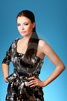 Woman On Blue Royalty Free Stock Images - Image: 9416469