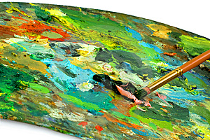 Paintbrush With Oil Paint On A Classical Palette Stock Photography - Image: 9416592