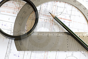 Blueprint With Pencil, Loupe And Steel Protractor Stock Images - Image: 9417494