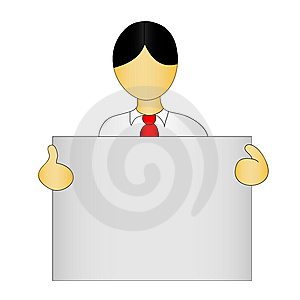 Cute Figure With Empty Sign Stock Photo - Image: 9417580