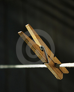 Wooden Clothespin On The String Stock Photography - Image: 9417662