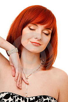 Beautiful Redhead Woman With Necklace And Bracelet Royalty Free Stock Images - Image: 9417679
