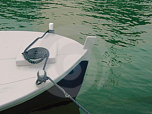 Boat, String On River Stock Photo - Image: 9419110