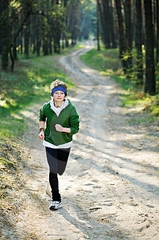 Girl Runner In The Forest Royalty Free Stock Image - Image: 9426146