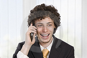 Happy Gesturing Business Man With Mobile Phone Stock Image - Image: 9427111