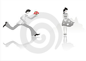 Man Running To Girl Royalty Free Stock Images - Image: 9428309