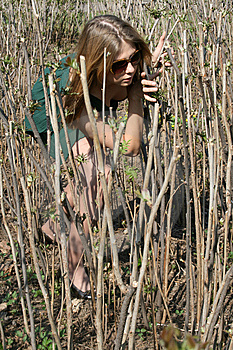 Girl Among Bushes Royalty Free Stock Image - Image: 9429496