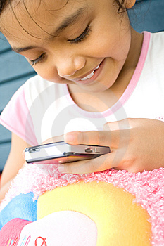 Little Girl With Cellphone Royalty Free Stock Image - Image: 9435116