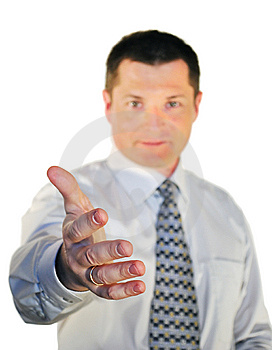 Man Stretches Out A Hand For A Handshake Stock Images - Image: 9435374