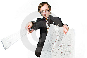 Young Architect With Sketch And Ruler Royalty Free Stock Image - Image: 9436626