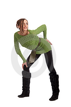 Sexy Young Model In A Green Sweater Stock Photos - Image: 9441253