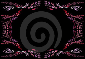 Leafy Pink And Lavender Fractal Frame With Black C Royalty Free Stock Photo - Image: 9442065