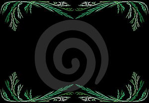 Leafy Green Fractal Frame With Black Copy Space Royalty Free Stock Photography - Image: 9442067