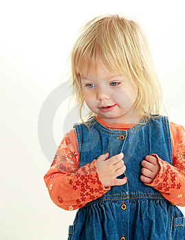 Cute Toddler Girl Over White Royalty Free Stock Images - Image: 9442889