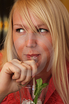Smiling Blond Girl Drinking Closeup Royalty Free Stock Images - Image: 9444609