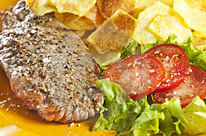 Steak And Chips Stock Photography - Image: 9446792
