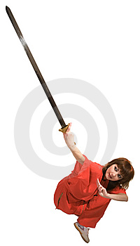 Woman Makes Exercise With Sword Royalty Free Stock Photo - Image: 9452115