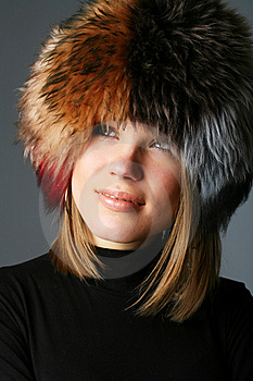 Portrait Of A Beautiful Woman In A Fur Hat Stock Photography - Image: 9457012